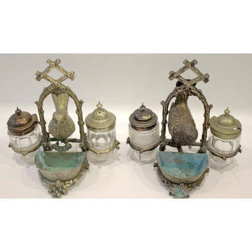 59 - Pair Of Rare Victorian Cruet Stands, Cast Silver Plated Stands Realistically Cast In The Form Of Bra...