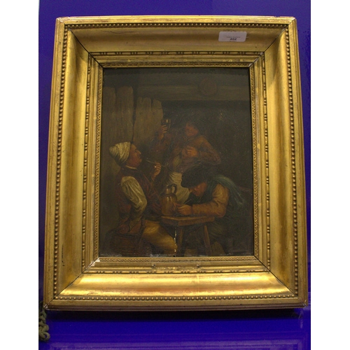 402 - Antique Oil Painting On Panel, Interior Tavern Scene Showing Three Men Drinking And Smoking. 11 x 9 ...