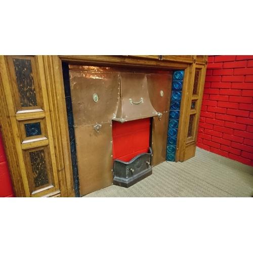 111 - Tiffany Interest, An Impressive Rare Tiffany Glass Tiled Walnut And Amboyna Fireplace Of Large Propo...