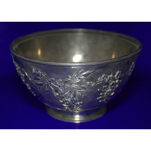 379 - Exceptional Silver Japanese Footed Bowl, Meiji Period, Embossed To The Body with Flowering Prunus, F...