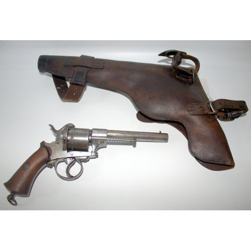 493 - Display Purposes Only, 19thC Belgian Revolver With Leather Holster...