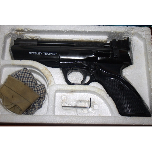 496 - Webley Tempest .22 Air Pistol. In Fitted Case...