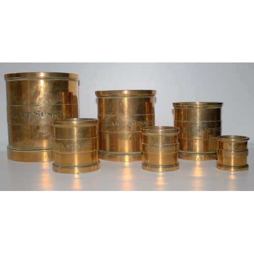 498 - Rare Set Of 6 William IV Bronze Imperial Measures, c1830's, Stamped East Sussex, Half Gallon To Half...