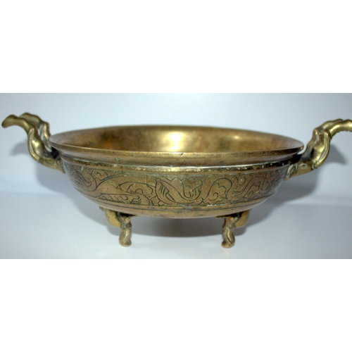 499 - Large Antique Brass Incense Bowl With Unusual Elephant Handles And Feet, Cast Character Marks To Bas...