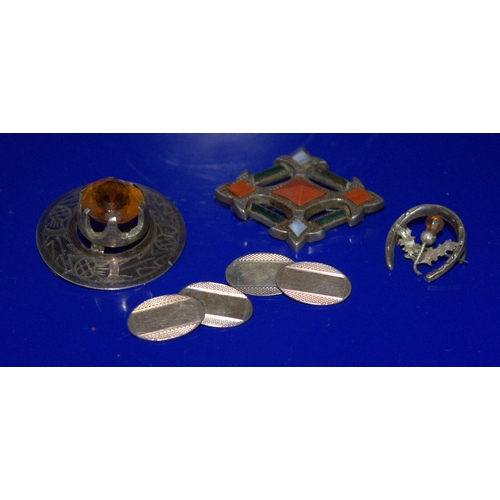87 - Mixed Lot Comprising A Scottish Silver Hardstone Brooch (unmarked), Thistle & Horseshoe Silver Brooc...