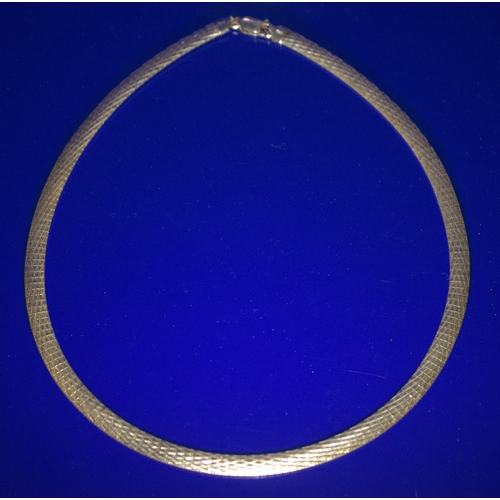 23 - Solid Silver Flat Necklace, Stamped 925, Italy, Width 6mm, Weight 25g, Length 17 Inches...