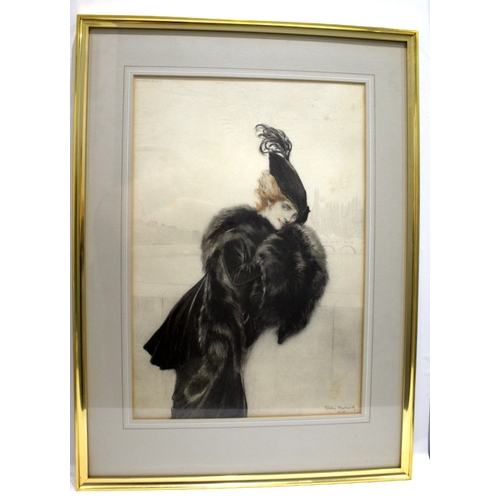 595 - TRISTAM RICHARDS Print Of An Elegant Woman, Pariser Chic, Dated 1914, Signed And Numbered No.30, 16 ...