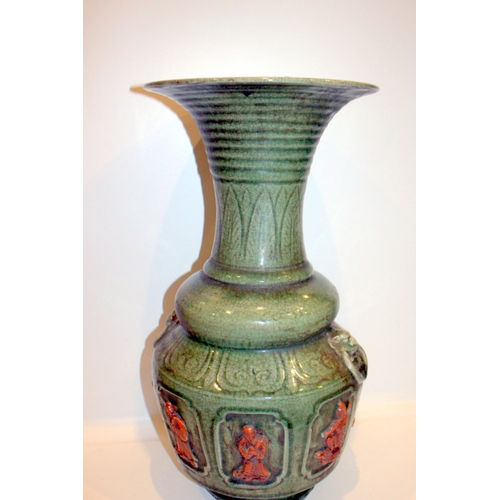 380 - Antique Chinese Celadon Glazed Vase Of Large Size With Crackled Glaze, Unusual Biscuit Unglazed Figu...