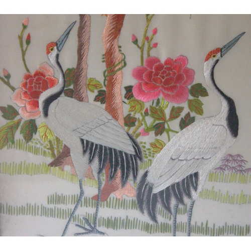 345 - Antique Chinese Silk Embroidered Panel Depicting Two Red Headed Cranes With Inscriptions Amongst Pin...