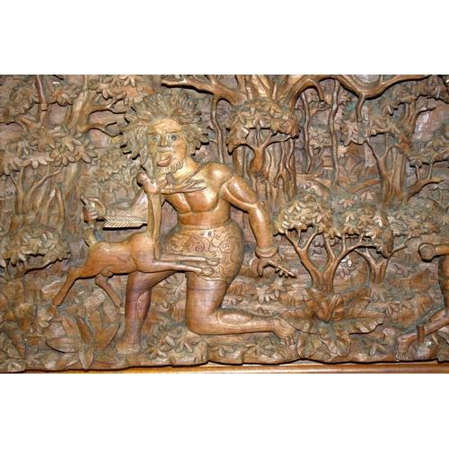 382 - Large Carved Antique Burmese Plaque, Finely Carved, Large Size...