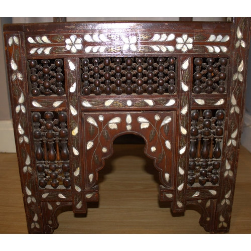 383 - Antique Syrian Corner Chair, Inlaid With Bone, Mother Of Pearl And Ivory...