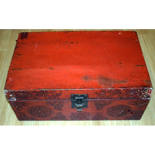 405 - 17th/18thC Chinese Red Lacquered Leather Box, Raised Decoration To The Front With Original Brass Loc...