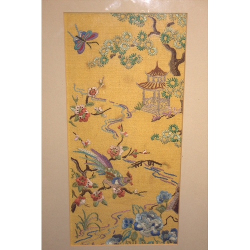 415 - Chinese Silk Embroidered Panel, Depicting Birds, Trees & Pagoda 11.5 x 5.5 Inches...