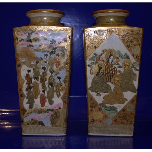 385 - Pair Of Japanese Canister Shaped Satsuma Vases, Meiji Period. Decorated To The Panels With Holy Men ...