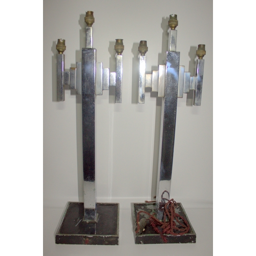 522 - Pair Of Art Deco Chrome Three Branch Table Lamps, Of Tapering Column Skyscraper Design With Two Step...