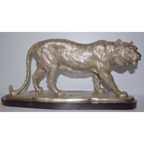 530 - Large 20thC Silvered Bronze Sculpture Depicting A Majestic Standing Tiger, Mounted On A Black Marble...