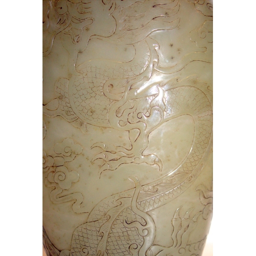 418 - Antique Chinese Celadon Jade Vase, Of Large Proportions, Intricately Carved With A Coiling Dragon Yo...