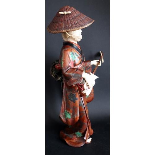 310 - Japanese Ivory And Lacquered Wood Okimono, Depicting Geisha Girl Playing Shamisen (Three Stringed Mu...