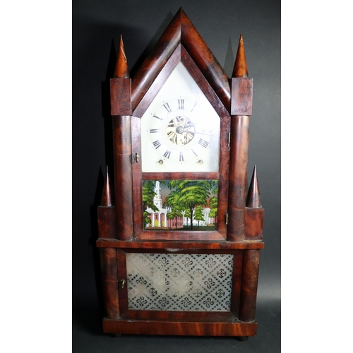 725 - Mahogany Gothic Steeple Clock, Birge and Fuller, Bristol, Connecticut, 1844-1848, Rosewood Veneered ...
