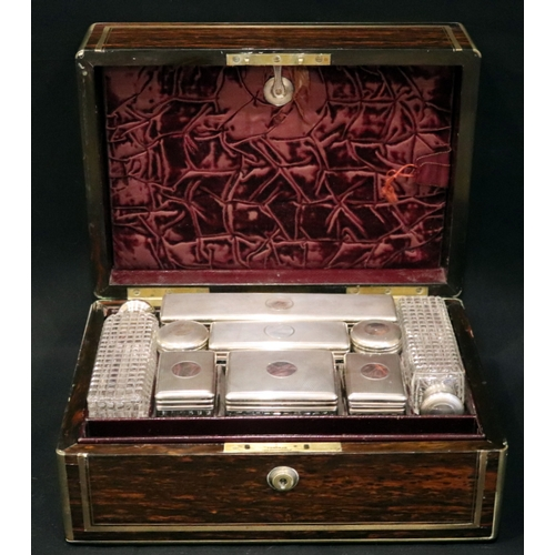 30 - Victorian Rosewood Gents Fully Fitted Travelling Vanity Case, The First Tray Containing Nine Silver ...