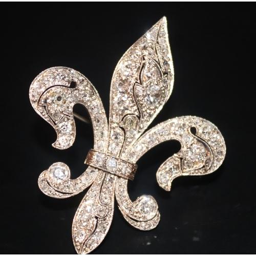 102 - Antique Diamond Cluster Brooch, Fleur De Lys Form, Milgrain Set Round Brilliant Cut Diamonds Through...