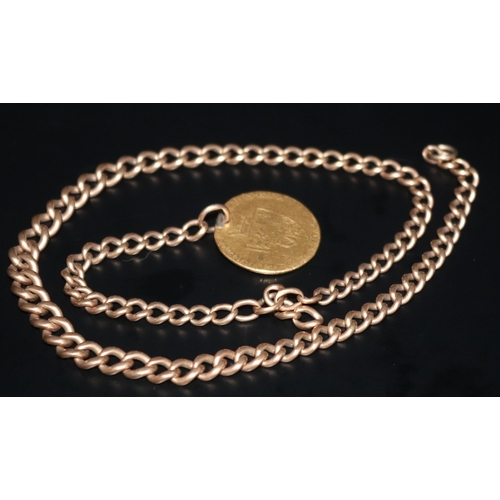 30 - Antique 9ct Gold Albert Chain With Attached Gold Guinea, Length 17 Inches, Gross Weight 37 grams...