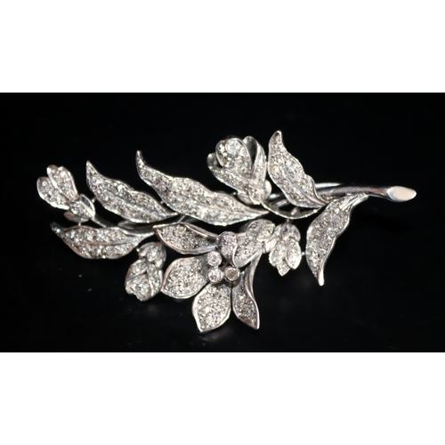 143 - Platinum Floral Brooch Set With Modern Brilliant Cut Diamonds, Approx Diamond Weight 2.2ct, Length 2...