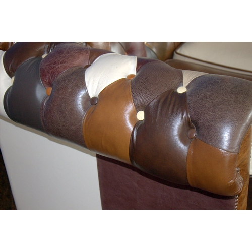 717 - English 3 Seater Patchwork Leather Chesterfield Settee In Various Shades Of Browns, 6'6...