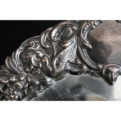 120 - Asprey 166 New Bond Street London, Large Victorian Heart Shaped Silver Framed Mirror. Heart Shaped B...