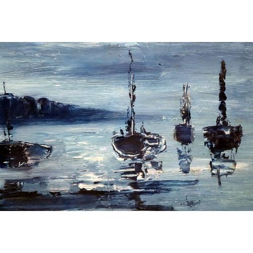 390 - James Lawrence Isherwood (British, 1917-1988). Blue Period Seascape, Signed Lower Right Isherwood , ...