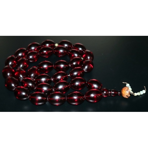 17 - Tibetan Buddhist Cherry Amber Coloured Beaded Necklace, Of Extremely Large Size, Each Bead Approx 1....