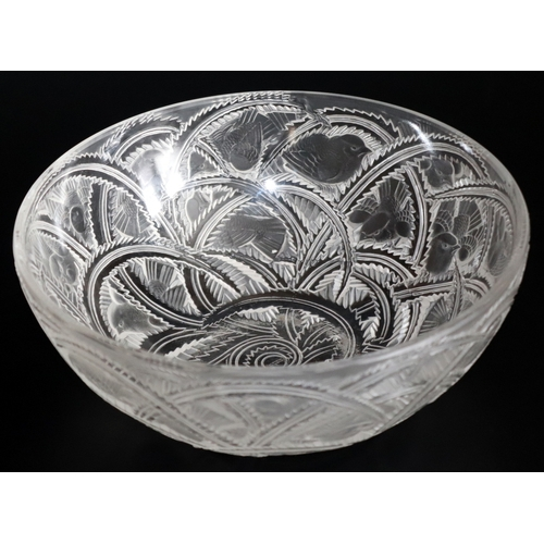 51 - Lalique Glass, Pinsons Art Glass Bowl, Engraved To Base Lalique France, Diameter 9.25 Inches, Height...