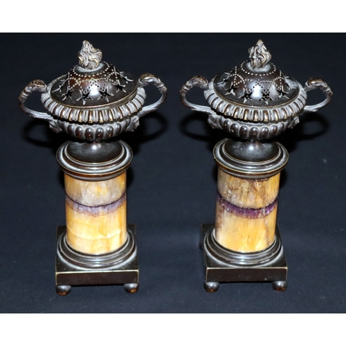 163 - 18th/19thC Grand Tour, Blue John Mounted Bronze cassolettes/Urns, Removable Pierced Covers,Fluted Ur...