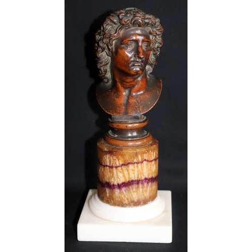 164 - 18th/19thC Grand Tour. Blue John Interest. Bronze Bust Depicting Alexander The Great, Raised On A Bl...
