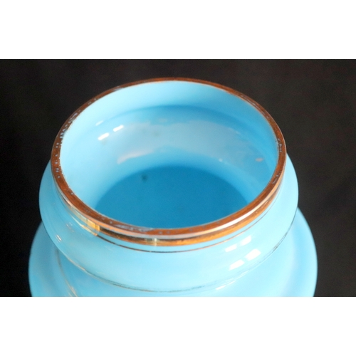 264 - Pair Of Large French Opaline Turquoise Coloured Glass Lidded Vases, Probably Made For The Turkish Ma...