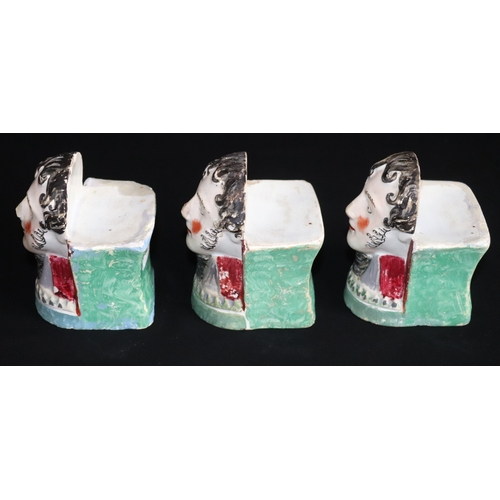 369 - Set Of Three Early 19thC Staffordshire Furniture Foot Rests/Window Sash Rests, All Depicting The Duk...