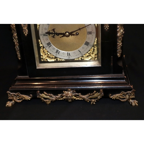 316 - Victorian Ebonised Chiming Bracket Clock, Of Large Size, Silvered Chapter Dial, Double Fusee, Regula...