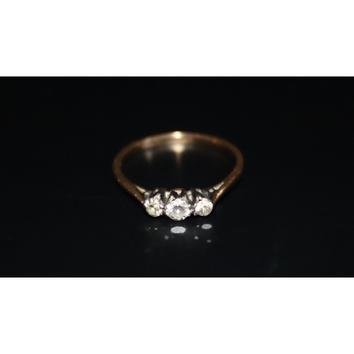 11 - Platinum And 18ct Gold Ring Set With 3 Diamonds, 2 Grams Total Weight...