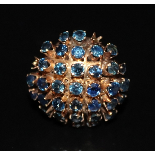 23 - 18ct Gold & Blue Sapphire Cocktail Ring, 7.9 Grams Total Weight, Size P...