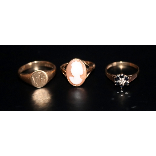 52 - 3 9ct gold Rings Comprising A Signet Ring, Cameo And Gem Set Ring, Weight Approx 7.7g...