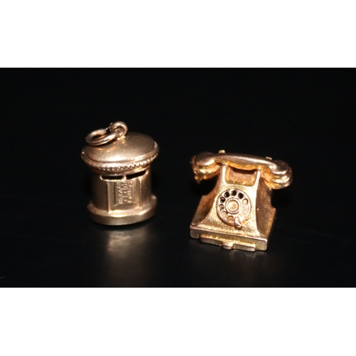 100 - Two 9ct Gold Charms Comprising A Hinged Telephone And A Post Box Height 13mm, Weight Approx 4.8g...