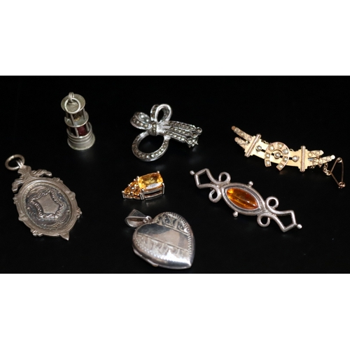 7 - Small Mixed Lot Of Jewellery Comprising A 9ct Gold Bar Brooch (2.9g), Silver Locket, Silver Charm In...