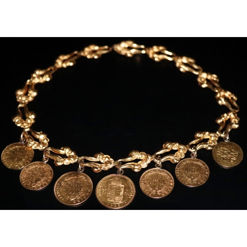 29 - Middle Eastern High Carat Gold Chain, Mounted With 7 Gold Coins, To Include Two 1856 Five Francs, 18...