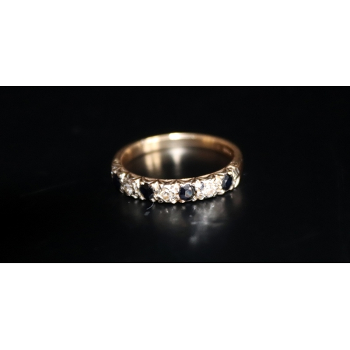 30 - 9ct Gold Ladies Dress Ring, Sapphire And Diamond, Fully Hallmarked, Ring Size O 1/2, Weight 2.6g...