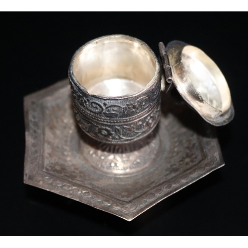 167 - Continental Silver Desk Inkwell, Chased Decoration, Raised On Tripod Feet With Hexagonal Tray And Li...