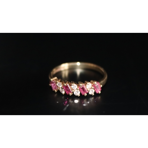 136 - 9ct Gold Ladies Diamond And Ruby Ring, Fully Hallmarked, Ring Size N, Weight 1.8g...