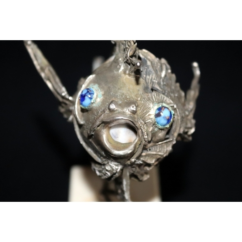 63 - Italian Silver Modernist Sculpture, Depicting A Red Lion Fish With Shell Body Mounted In Silver, Rai...