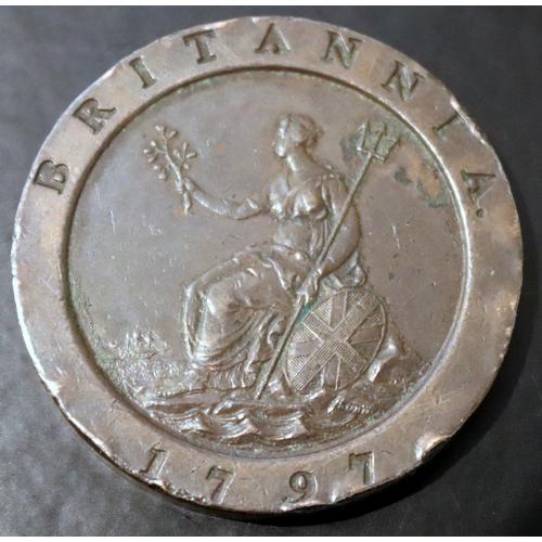 231 - George III Copper 1797 Cartwheel Twopence Coin, Soho Mint....