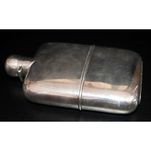 90 - Silver Hip Flask, Fully Hallmarked For London 1907, Makers Mark For Sampson Mordan, 291.9 Grams Tota...