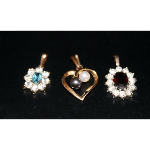 84 - 18ct Sapphire And Diamond Pendant, 9ct Gold Topaz & White Stone Pendant, And 1 Hallmarked 9ct Gold P...